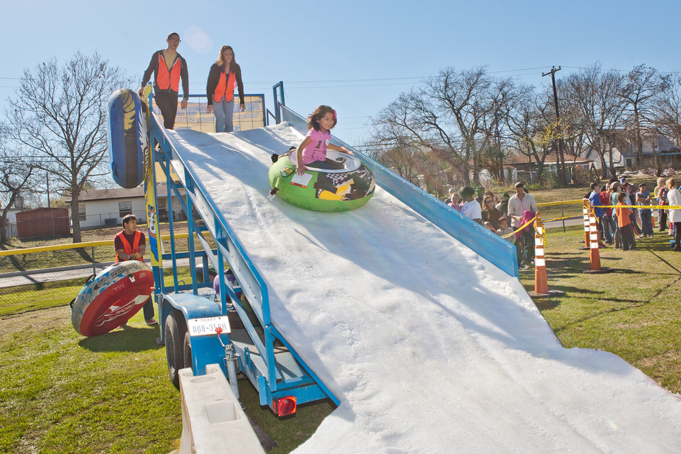 Snow Slide Trailer Being Used